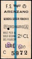 Biglietto Ferroviario Arenzano - Genova Sestri Ponente - Treni