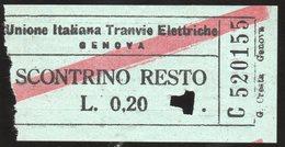 Biglietto Del Tramways Di Genova - Europa