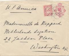 Curacao - 1917 - 5 Cent Wilhelmina, Envelop G10a + 5 Cent Van GR St EUSTATIUS Naar Washington / USA - Curaçao, Antilles Neérlandaises, Aruba