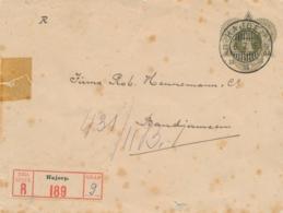 Nederlands Indië - 1915 - 20 Cent Wilhelmina, Envelop G28 R Van KB HAJOEP Via KB AMOENTAI Naar KB BANDJERMASIN - Indes Néerlandaises