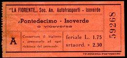 Biglietto Autobus La Fiorente Soc. An. Autotrasporti- Isoverde - Europa