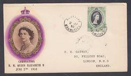1953. MAURITUS. Elisabeth Coronation  10 CENTS On FDC. + 2 Cents Georg VI On Back. (michel 242) - JF323544 - Mauritius (...-1967)