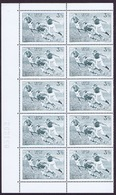 Ireland 1974 Rugby 3 1/2p Variety Major Re-entry In A Block Of Ten With Full Margins, Very Fine Mint Unmounted - 1949-... République D'Irlande
