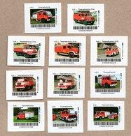 BRD - Privatpost - Biberpost - Feuerwehr Fire - Auto Car - 11 Werte Feuerwehrautos - Private & Local Mails