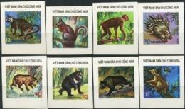 VIETNAM 1976 Wild Animals Monkey Squirrel Racoon Dog Bear Leopard Lemur Fauna Imperforated MNH - Affen