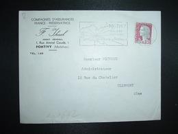 LETTRE TP M. DE DECARIS 0,25 OBL.MEC.26-1 1962 PONTIVY MORBIHAN(56)COMPAGNIES D'ASSURANCES FRANCE PRESERVATRICE F. IHUEL - Postmark Collection (Covers)