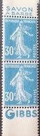 "R1189/362 - 1925/1926 - TYPE SEMEUSE CAMEE - PAIRE VERTICALE DE CARNET  N°192 (IIB) NEUFS** BdF Avec Publicité "" GIBBS "" - Advertising"