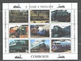 """S TOME E PRINCIPE   1997  """"TRAINS""""  M.S.. #NO SCOTT (MICHEL YES) M.N.H. - Sao Tome And Principe"""
