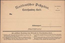 Germany 1870 - NORDDEUTSCHE POSTGEBIETE Correspondenz-Karte Nr. 1(a), North German Confederation. - Conf. De Alemania Del Norte