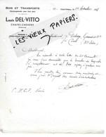08 - Ardennes - CHATEL-CHEHERY - Facture DEL-VITTO - Bois, Transports, Déménagements - 1938 - REF 145A - 1900 – 1949