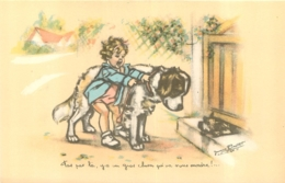 GERMAINE BOURET  GRANS MAGASINS DE LA SAMARITAINE  EDIT MEYER PAS PAR LA Y A UN GROS CHIEN - Bouret, Germaine