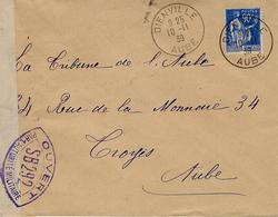 1939- Enveloppe De Dienville ( Aube )  Affr. 90 C  Avec Censure S B 292 - Postmark Collection (Covers)