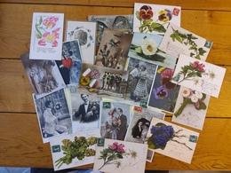 Lot 21 Cpa Divers Couples Militaria Fleurs - Postcards