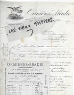 11 - Aude - NARBONNE - Facture ORMIERES-ABADIE - Propriétaire-viticulteur - 1917 - REF 145A - France