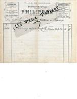 18 - Cher - BOURGES - Facture PHILIPPON - Distribution, Facteurs Express, Déménagements - 1900 - REF 145A - 1900 – 1949