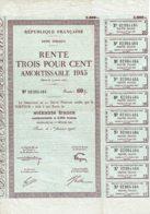 75-REPUBLIQUE FRANCAISE. 1945 Dette Publique Rente 3 % Amortissable 1945, Rente 60 F. - Acciones & Títulos