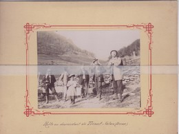 RARE PHOTO SUR CARTON HALTE EN DESCENDANT DE TRIENT-VALAIS EN 1895 ( 20cm X 15,5 Cm ) - VS Valais