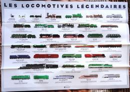 Poster ( 58 X 83 ) - Les LOCOMOTIVES LÉGENDAIRES - Éditions ATLAS . - Affiches