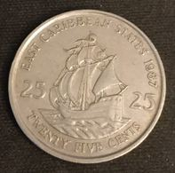 EAST CARIBBEAN STATES - 25 CENTS 1987 - Elizabeth II - 2e Effigie - KM 14 - East Caribbean States