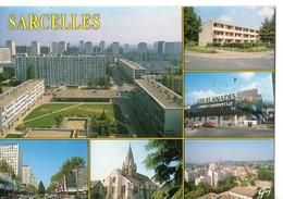 CPM, (95), SARCELLES, Place, Centre Commercial, église, Multivues, écrite, Sans Timbre - Sarcelles