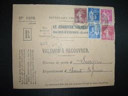 DEVANT LR VALEURS A RECOUVRER TP PAIX 1F + 65c + SEMEUSE 15c + 5c OBL.24-11 38 ST ETIENNE MANUFACTURE LOIRE (42) - 1921-1960: Modern Tijdperk