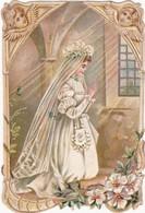 Images Religieuses : Communiante Avec Anges ( Image Gaufré Contour Festonné ) - Images Religieuses