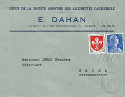 Algérie Algeria Lettre Cover Oran 1959 Entête Dahan Judaica Allumettes - Brieven En Documenten
