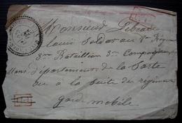 Saint-André-Farivillers ? (Oise) 1870 Cachet Tireté PD Barré P.P Pour Un Garde Mobile 3eme Bataillon Dans La Sarthe - 1849-1876: Période Classique