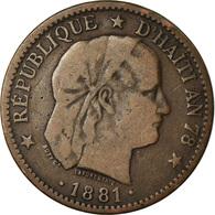 Monnaie, Haïti, 2 Centimes, 1881, TB+, Bronze, KM:43 - Haïti
