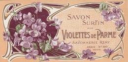 Savon,  Violettes De Parme - Remy Paris - ( 175 Mm X 86 Mm ) - Etiquetas
