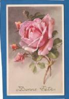 CARTE BONNE FETE UNE ROSE - Holidays & Celebrations
