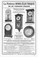 "PUB PENDULES   "" HORO-ELECTRIQUE  ""  1922  ( 1 ) - Horloges"