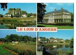CPM, (49), LE LION-D'ANGERS, Multivues,, église, Chateau, Camping, Bord De L'oudon, écrite, Non Timbrée - Altri Comuni