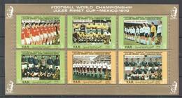 XX249 YEMEN ARAB REPUBLIC SPORT FOOTBALL WORLD CUP MEXICO 1970 TEAMS MICHEL #1145-50 EURO 1KB MNH - Coupe Du Monde