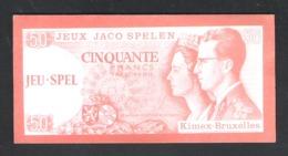 BANKBILJET 50 F - JACO SPELEN - JEUX - KIMEX BRUXELLES  - 12 Cm X 6 Cm  (BB 21) - [ 8] Finti & Campioni