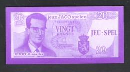 BANKBILJET 20 F - JACO SPELEN - JEUX - KIMEX BRUXELLES  - 11 Cm X 5 Cm  (BB 19) - [ 8] Finti & Campioni