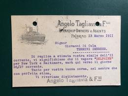 PALERMO ANGELO TAGLIAVIA & F.LLI STEAMSHIP OWNERS & AGENTS 1911 VAPORE DELPHINE PER NEW YORK E BALTIMORA  PIROSCAFO NAVI - Palermo