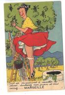 CPA 13 MARSEILLE Carte à Système Fantaisie Dépliant Femme Jupon Cueillette Olives - Non Classés