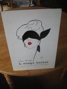 Ancien Carton Plastifié Publicitaire Original (années 50) ROUGE BAISER Illustré Par René GRUAU : La Femme Au Bandeau - Plaques En Carton