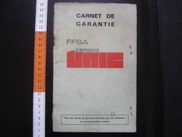 Carnet De Garantie FFSA Camions UNIC FIAT 1973 - Camions