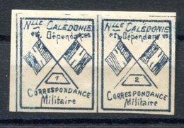 RC 17158 NOUVELLE CALÉDONIE VIGNETTE DE FRANCHISE MILITAIRE PAIRE N° 1+2 NEUF * TB MH VF ( LIRE DESCRIPTION ) - New Caledonia