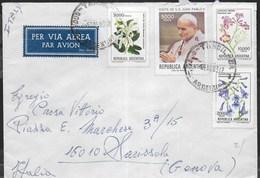 ARGENTINA - BUSTA VIA AEREA AFFRANCATURA MULTIPLA DA TANDIL PER GENOVA 1983 - CHIUDILETTERA - Argentina