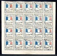 RC 17160 NOUVELLE CALÉDONIE VIGNETTE DE FRANCHISE MILITAIRE BLOC DE 20 N° 6 à 25 NEUF (*) MNG ( LIRE DESCRIPTION ) - Unused Stamps