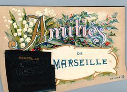 Carte 1905 à Tirette , Dépliant 12 Vues Sous L'enveloppe SOUVENIR AMITIES DE MARSEILLE - Marsella