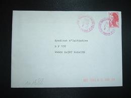 LETTRE TP LIBERTE 2,00 ROUGE OBL. ROUGE 21-3 1984 76 LE HAVRE SANVIC SEINE MARITIME - Storia Postale