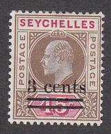 Seychelles 1903 3c On 45c  SG59  MH - Seychelles (...-1976)