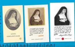 Relic   Reliquia    St. Marguerite- Marie     3 Pieces - Devotieprenten