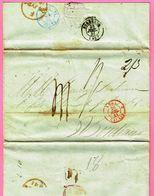 """1841 Lettre De SANTIAGO DE CUBA Vers Bordeaux, Mention """"Vapor Ingles, Port Anglais 2/3, Port Dû 41 (décimes) - 1801-1848: Precursores XIX"""