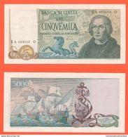 5.000 Lire Colombo Tre Caravelle 11-4-1973 Firme Carli Barbarito Repubblica Italiana - [ 2] 1946-… : République