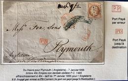1856 Du Havre Pour PLYMOUTH PP Par Erreur Timbre 40c Empire Seine Inférieure - Storia Postale